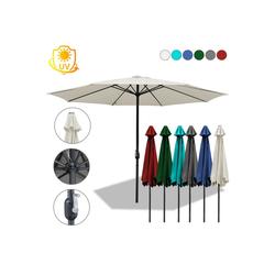Einfeben Sonnenschirm 3m-3.5m Sonnenschirm Marktschirm mit Handkurbel UV40+ Outdoor-Schirm Terrassen Gartenschirm weiß