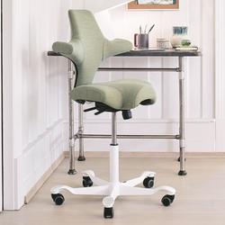 HAG CAPISCO 8106 Bürostuhl mit Sattelsitz Stoff Remix 933 grün - Gestell weiß...