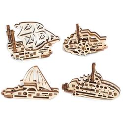 UGEARS 3D-Puzzle U-FIDGET Holz 3D-Puzzle-Set Modellbausatz - Schiffe, 56 Puzzleteile, 4 Miniaturmodelle