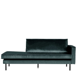 Sofa Recamiere in Petrol Samt Retro Design
