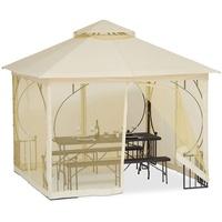 Relaxdays Gartenpavillon 3,00 x 3,00 m inkl. 4 Seitenteile champagner