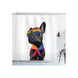 Abakuhaus Duschvorhang Moderner Digitaldruck mit 12 Haken auf Stoff Wasser Resistent Breite 175 cm, Höhe 220 cm, Bulldogge Stolz, Homosexuell Pet Posing Lustig 175 cm x 220 cm
