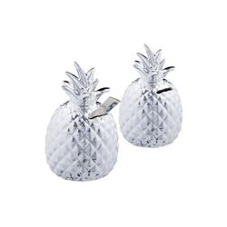 relaxdays Spardose 2 x Spardose Ananas in Silber