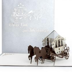 Colognecards Pop-Up Karte Kutsche-Alles Gute zur Silberhochzeit