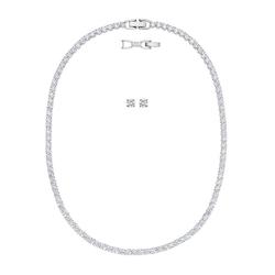 Swarovski Ohrring und Ketten Set TENNIS DLX, 5506861 (Set, 3-tlg), mit Swarovski® Kristallen