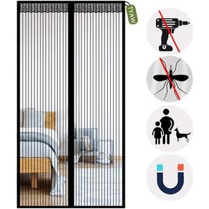 Magnet Fliegengitter Tür, Insektenschutz Tür, Automatisches Schließen Magnet, für Balkontür Wohnzimmertür Terrassentür-Black-A   90x190cm(35x74inch)