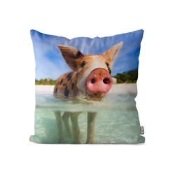 Kissenbezug, VOID (1 Stück), Schweinchen Strand Kissenbezug Schweine Bauern Bauernhof Tiere Zoo Farmer Landh 80 cm x 80 cm