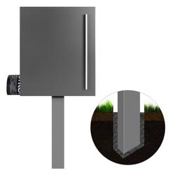 MOCAVI Briefkasten Standbriefkasten mit Zeitungsfach grau-aluminium (RAL 9007) MOCAVI SBox 110b Briefkasten mit Pfosten (einbetonieren)