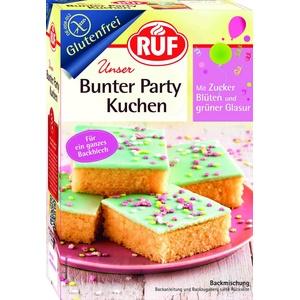 RUF Bunter Party-Kuchen glutenfrei, Blech-Kuchen zum kinderleichten Backen ohne Gluten, Back-Mischung mit Glasur und Streuseln, Fertig-Mischung 815g