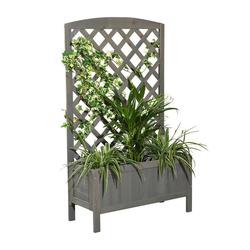 Mucola Blumenkasten Blumenkasten Holz Rankkasten Rankgitter Rankhilfe Blumenständer Blumenkübel Rankgestell grau