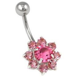 Firetti Bauchnabelpiercing Blume, mit Kristallen