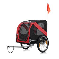 zoomundo Hundeanhänger Fahrradanhänger für Hunde - in Rot/Schwarz - Silver Frame