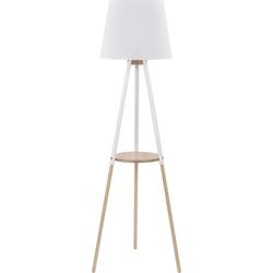 Licht-Erlebnisse Stehlampe VAIO Weiße Stehleuchte Creme Holz Trichter Stoffschirm skandinavisch Lampe