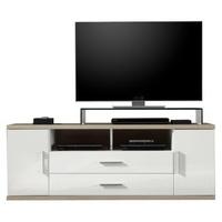 trendteam Arena TV-Unterteil 150 cm weiß Hochglanz/Eiche sägerau