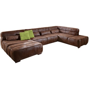 Cavadore Wohnlandschaft Scoutano, XXL-Couch in U-Form im Industrial Design, 363 x 76 x 227 cm, Lederoptik braun