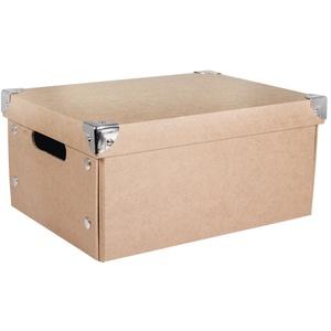 Rayher Hobby 67257000 Aufbewahrungsbox, mit Deckel, Pappmaché, natur, 32,5 x 25 x 16 cm, mit Metallecken und Haltegriffen, zusammenfaltbar, Ordnungshalter, Schachtel