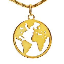 Adelia´s Kettenanhänger Weltkugel Anhänger 925 Silber vergoldet