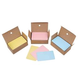 kueatily Druckerpapier Blanko Papier Karten Kraftpapier-Visitenkarten Nachrichten Karten Memory-Wort-Karten DIY Kraftkarten für Schule zu Hause (Gelb + Rosa + Blau)
