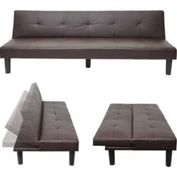 3er-Sofa MCW-G11, Couch Schlafsofa Gästebett Bettsofa Klappsofa, Schlaffunktion 195cm ~ Kunstleder, braun