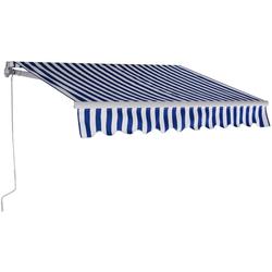 COSTWAY Markise Sonnenmarkise, Terrassenmarkise, Klemmmarkise 3 x 2,5 m, mit Kurbel, für Balkon und Veranda blau