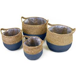 NOOR LIVING Aufbewahrungskorb (Set, 4 Stück), dekorative Aufbewahrung von verschiedenen Utensilien blau