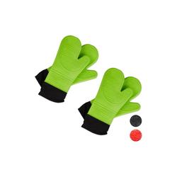 relaxdays Topfhandschuhe 2x Ofenhandschuhe Silikon grün
