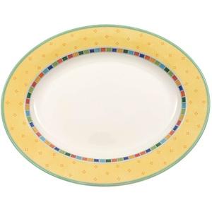 Villeroy & Boch Twist Alea Limone Ovale Servierplatte, 41 cm, Premium Porzellan, Weiß/Gelb