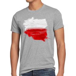 style3 Print-Shirt Herren T-Shirt Flagge Polen Fußball Sport Polska WM EM Fahne grau L