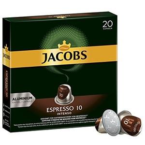 Jacobs Kapseln Espresso Intenso, Intensität 10, Nespresso®* kompatible Kaffeekapseln, 10x20 Kapseln