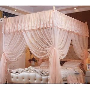 Luxus Rechteck Dekoration Moskitonetz, Romantik Spitze Bett Baldachin Mit Halterung Betthimmel, Mesh 3 Öffnungen Montage Erfordert-a 180x220cm(71x87inch)