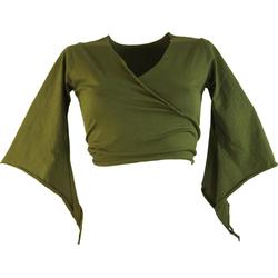Guru-Shop T-Shirt Elfen Top, Top Goa-chic, Wickeltop - olive S/M