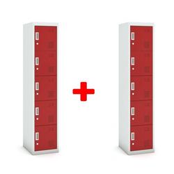 Fünftüriger schrank, zylinderschloss, 1800 x 380 x 450 mm, grau/rot,