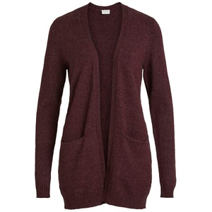 VILA CLOTHES Damen VIRIL L/S OPEN KNIT CARDIGAN-NOOS Strickjacke, Winetasting/Detail:MELANGE, S