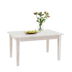 Massivholz Esstisch in Weiß Kiefer