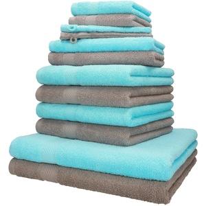 Betz 12-tlg. Handtuch-Set PALERMO 100% Baumwolle 2 Liegetücher 4 Handtücher 2 Gästetücher 2 Seiftücher 2 Waschhandschuhe Farbe stone und türkis