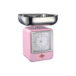 WESCO Küchenwaage Retro Waage mit Uhr Retro Waage mit Uhr rosa
