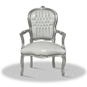Barock stuhl weiß silber Kunstleder modern Lounge Kaminstuhl holz luxus design