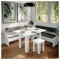 Vicco Sitzgruppe Eckbankgruppe Roman Weiß 180x180cm Esszimmergruppe Eckbank Sitzgruppe
