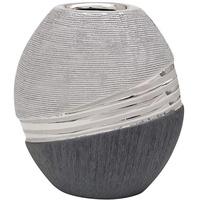 Dekohelden24 Edle Moderne Deko Designer Keramik Vase in Silber-grau oval, Silbergrau, 16 cm