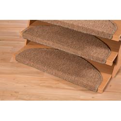 Stufenmatte Bob, Andiamo, halbrund, Höhe 4,5 mm, Teppich-Stufenmatten, Treppen-Stufenmatten, Treppenschutz, für innen, im Set, meliert braun