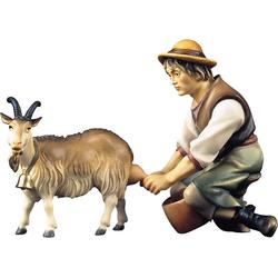 ULPE WOODART Krippenfigur Hirte mit Ziege zum Melken (Set, 2 Stück), Handarbeit, hochwertige Holzschnitzkunst