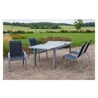 MERXX Amalfi Set 5-tlg.Tisch 220 x 90 cm inkl. Stapelsessel  marineblau