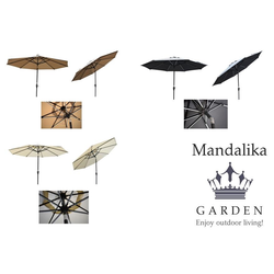 Mandalika Garden STARLIGHT Sonnenschirm mit LED Kurbelschirm Ø 300cm knickbar grau