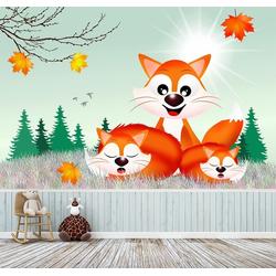 Bilderdepot24 Fototapete, Fuchsfamilie Cartoon, selbstklebendes Vinyl bunt 3 m x 2 m
