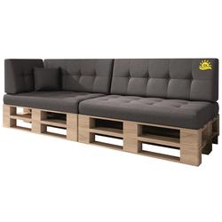 sunnypillow Palettenkissen VERONA 6er SET - 2x Sitzkissen + 2x Rückenkissen + 1x Seitenkissen grau