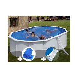 Kit piscine acier blanc Gré Bora Bora ovale 5,27 x 3,27 x 1,22 m + Bâche à bulles + Tapis de sol