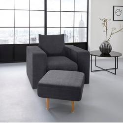 LOOKS by Wolfgang Joop Sessel, Verwandlungssessel: aus Sessel wird Sessel mit Hocker blau
