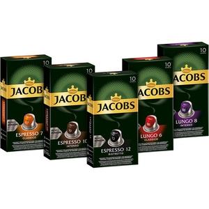 Jacobs Kapseln Vielfaltspaket - 50 Nespresso (R) * kompatible Kaffeekapseln aus Aluminium -Vielfaltspaket 5er-Pack