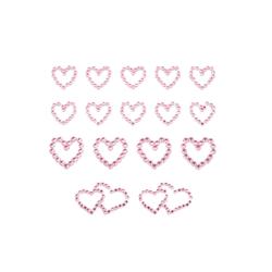 16 Herz Sticker Strass Steine Aufkleber Hochzeit Deko - rosa
