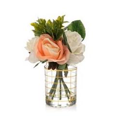 ABELLA Flora Mini-Blumenstrauß künstlich Design-Glasvase Höhe ca. 24cm
